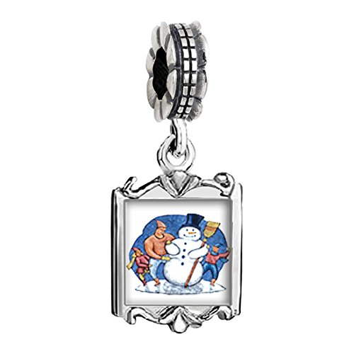 Silver Plated Building A Snowman Photo Family Mom & Baby Girl & Dad Dangle Bead Charm Bracelet