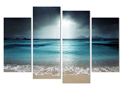[해외]그림 아트 패널 페인팅 벽 벽 장식 블루 바다 파도 해변 선셋 장식 폭 재 인테리어 거실 루 베드룸 사무실 4 패널 세트 (나무 틀 완제품) ht003 (20x40cmx2pcs + 20x60 cmx2pcs) / Picture Art Panel Painting Wall Hangings Blue Sea Wave Beach Su...