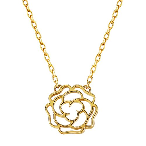 Carleen Solid 14K Yellow Gold Camellia Flower Dainty Pendant Necklaces for Women, Chain Length 16.5