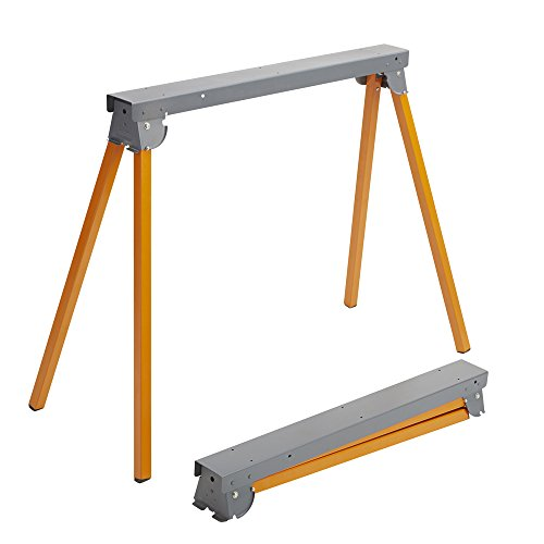 All Steel Folding Sawhorse - Pair BORA Portamate PM-3300T. TWO 33-Inch Tall Fold-up Heavy Duty Saw Horses. Fully Assembled, 1,000lb. Capacity (500lbs. each) and Quickly Folds Up for Easy Storage by PortaMate (Image #1)
