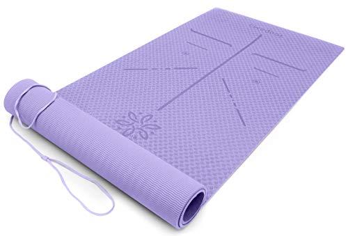 Ewedoos Colchoneta de Yoga con líneas de alineación, TPE Estera de Yoga Superficies texturadas Antideslizantes Acolchado de Alta Densidad de 1/4 ...