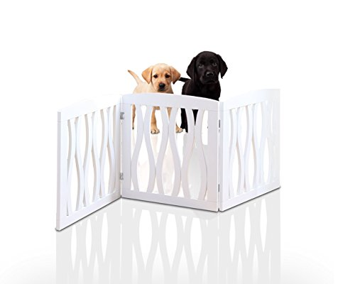 Kleeger KLG-160 Wooden Pet Gate, Foldable & Freestanding, For Indoor Home & Office Use. Keeps Pets Safe [ White Cascade Wave Decorative Design]. Easy Set Up, No Tools Required.