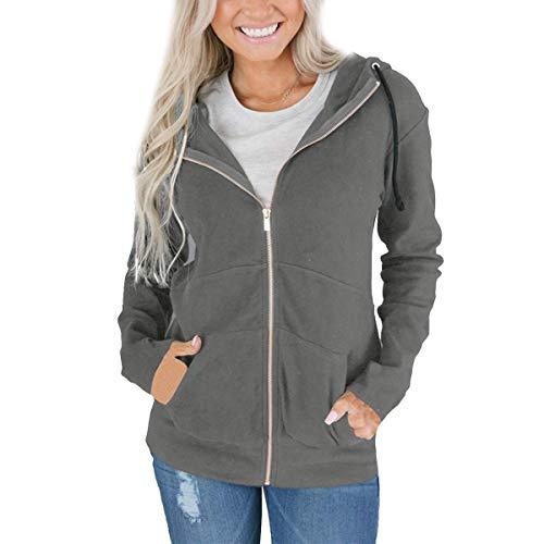ZFFde Invierno Sudadera con capucha y cremallera para mujer Sudadera con capucha y manga larga con capucha (Color : Gray, tamaño : 3XL)