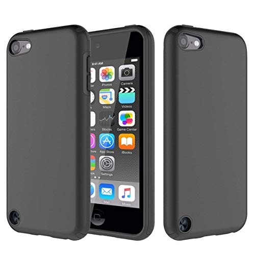 Ipod Touch Black Silicone - HAILASS iPod Touch 5 Case, iPod Touch 6 Case, Black Silicone Shockproof Phone Protection Case Rugged Dual Layer TPU Cover for iPod Touch 5/6th Generation