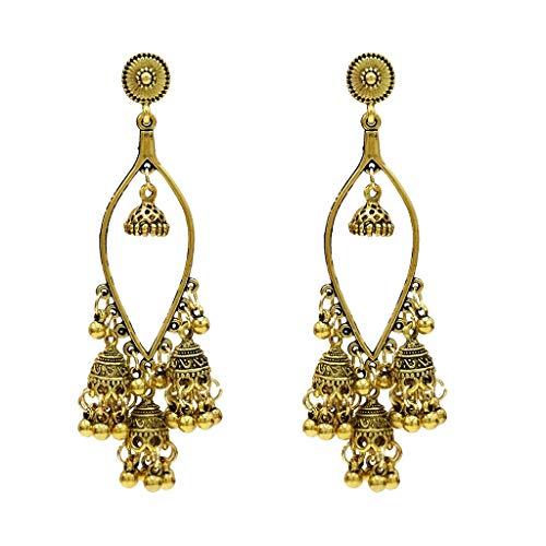 Muranba 2019 ! 1Pair Women Metal Vintage Bohemian Geometric Boll Creative Earrings (Gold)