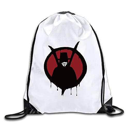 V For Vendetta LOGO White Drawstring Backpack Sport Bag For Men & Women (V Is Vendetta)
