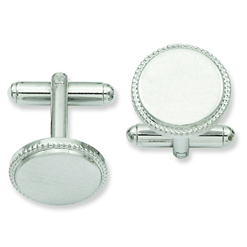 Shop4Silver Rhodium-Plated Florentined Round Beaded Cuff Links