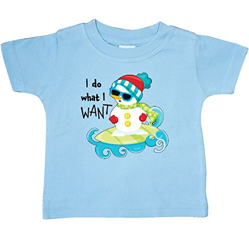 Inktastic - I Do What I Want summer snowman Baby T-Shirt 18 Months Light Blue (Snowman Surfing)