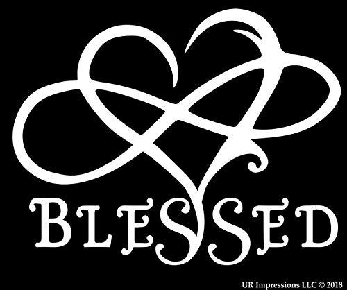 UR Impressions 7in. Blessed Infinite Love Heart Decal Vinyl Sticker Graphics for Cars Trucks SUV Vans Walls Windows Laptop|White|7 X 5.5 Inch|URI695