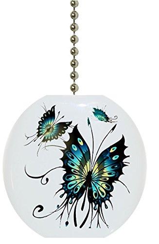 - Teal Butterflies Solid Ceramic Fan Pull