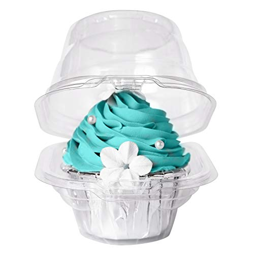 [50PCS]Single Clear Individual Cupcake Box,Small Stackable Take Out Container 1 Compartment with Lid Disposable Plastic Packaging,BPA-Free Dome Carrier Holder for Wedding Favor