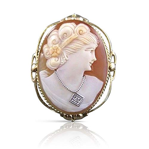 Yellow Gold Cameo Pin - Milano Jewelers Old Mine HABILLE Diamond 14K W Yellow Gold Shell Cameo PIN Pedant #20906