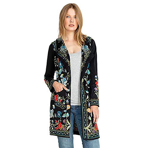 Johnny Was Zia Hooded Duster Jacket Black Embroidered Flower New Small