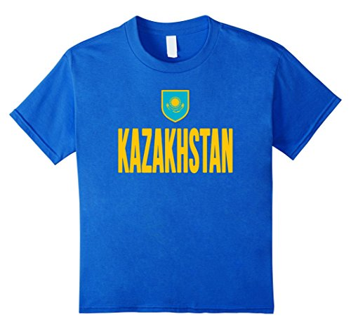 Kids KAZAKHSTAN T-shirt Kazakh Pride Flag Tee Soccer Football 12 Royal (Kazakhstan Flag T-shirt)