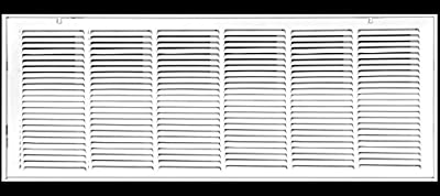 """36"""" X 12 Steel Return Air Filter Grille for 1"""" Filter - Removable Face/Door - HVAC DUCT COVER - Flat Stamped Face - White [Outer Dimensions: 38.5""""w X 14.5""""h]"""