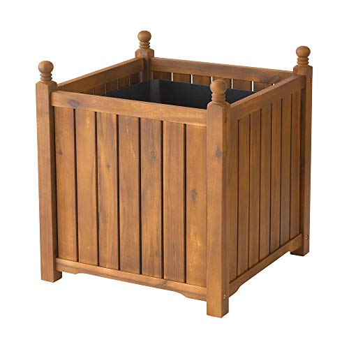 (DMC Products 70417 20-Inch Lexington Square Solid Wood Planter, Teak Oil)