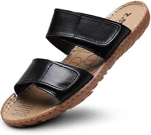レザーサンダル メンズ おしゃれ ビーチ 歩きやすいサンダル 本革 スリッパ 軽い 滑り止め ベロクロ 皮サンダル
