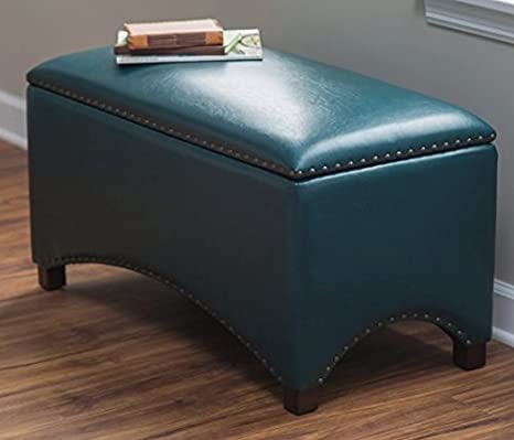 Astonishing Premium Bonded Leather Storage Bench Ottoman Coffee Table Nailhead Accents Choose Color Contemporary Home Furnishings Teal Blue Theyellowbook Wood Chair Design Ideas Theyellowbookinfo