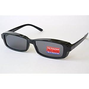 POLARIZED SUNGLASSES black frame COVER OVER prescription eyeglasses
