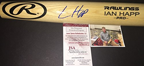 (Ian Happ Chicago Cubs Autographed Signed Engraved Bat JSA WITNESS COA Blonde)