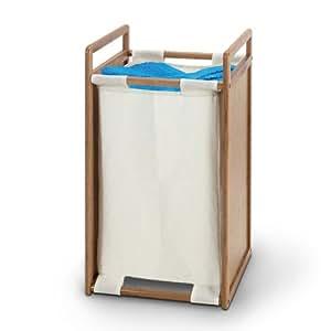 Cubo ropa sucia, bambú y lona, 34 x 34 x 62 cm