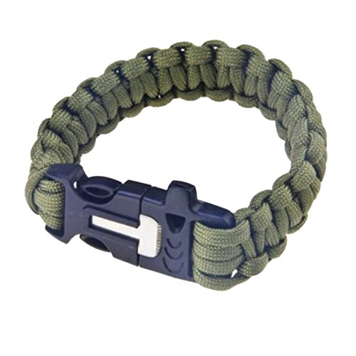 Outtop Military Survival Paracord Bracelet with Emergency Whistle-Magnesium Fire Steel-Clasp with Knife Cutter & Striker Accessories Survival Gear Kit (ArmyGreen)