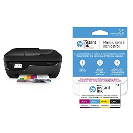 HP OfficeJet 3833 Stampante Multifunzione con 4 Mesi di Prova Gratuita del Servizio Instant Ink + Instant Ink Enrollment Card Cartucce di Inchiostro, Tri-Color (Giallo, Magenta, Ciano)
