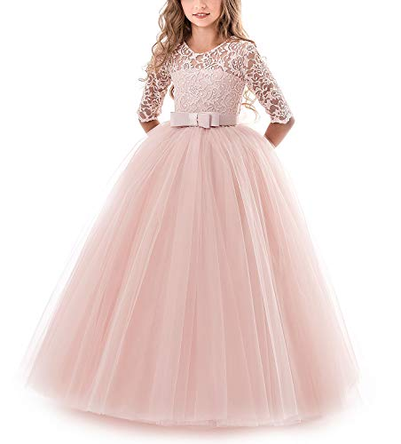 NNJXD Girls Pageant Embroidery Ball Gown Princess Wedding Dress Size (140) 8-9 Years -