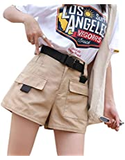 AIBEARTY Women Casual High Waisted Cargo Shorts Plus Size Pocketed Loose Short with Waist Belt