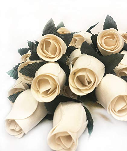 Present Avenue 24 Beautiful Realistic Ivory White Wooden Roses 2 Dozens (Ivory) ()