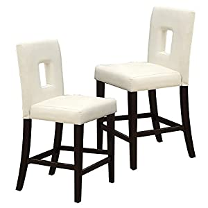 Poundex White Leather Counter Height Parson High Chairs Bar Stool Set of 2  sc 1 st  Amazon.com & Amazon.com: Poundex White Leather Counter Height Parson High ... islam-shia.org