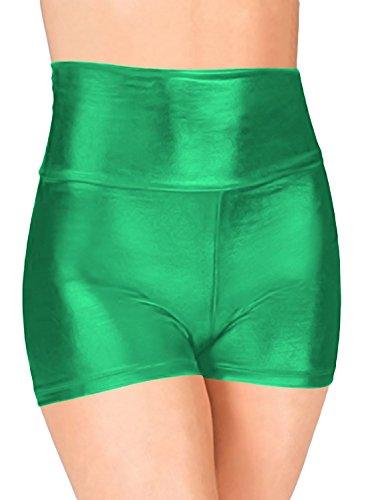 Marvoll Women's High Waist Metallic Dance Short (XX-Large, Green) (Plus Size Female Superhero Costumes)