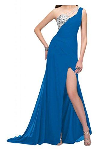 Por la noche de la Toscana de novia de Gasa de noche de la manera de la ranura de largo al tul vestidos de bola con vestidos Prom Azul