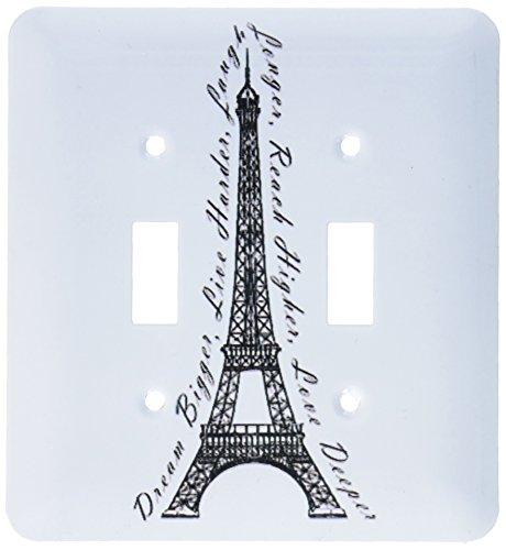 3dRose lsp_165895_2 Paris Dream Bigger Inspirational Design Black and White Light Switch Cover