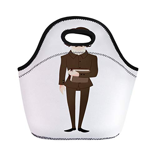 Semtomn Lunch Tote Bag American Edgar Allan Poe Author Clip Baltimore Dark Fiction Reusable Neoprene Insulated Thermal Outdoor Picnic Lunchbox for Men Women ()