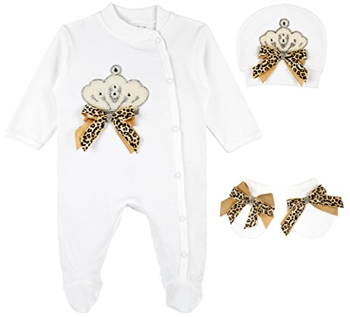 Lilax Baby Girl Jewels Crown Layette 3 Piece Gift Set 0-3 Months Leopard