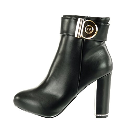 Block golden Black Booty high buckle Shoes sexy Angkorly Ankle boots 10 heel Women's Fashion CM X1S6z8