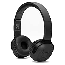 Bluetooth Headphones, Aquiver NB-6 Foldable Wireless 4.0 NFC Stereo Over-head Headset Earphones with Noise Cancelling Stereo and Pedometer for ios Android Smartphones PC Laptops Tablets - Black