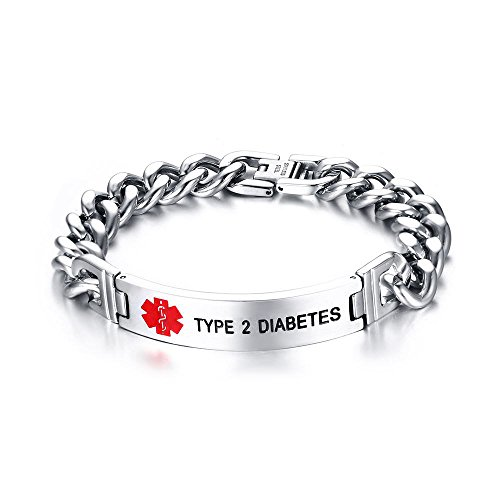 VNOX Type 2 Diabetes Bracelet Stainless Steel Medical Alert ID Bracelet for Unisex 8.3