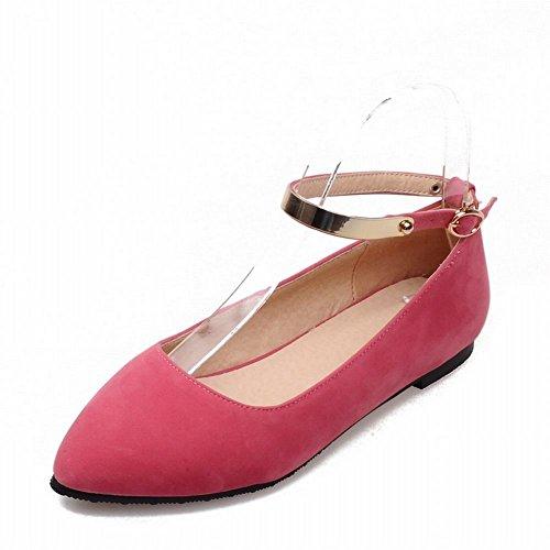 Show Shine Kvinna Mode Fotled Spänne Spetsiga Tå Flats Shoes Persika Röd
