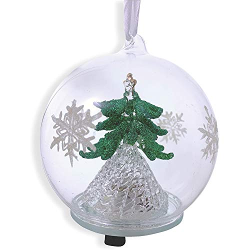 (BANBERRY DESIGNS LED Tree Christmas Ornament - Glass Ball with Green Christmas Tree Inside - Hand Painted with Glitter Snowflakes)