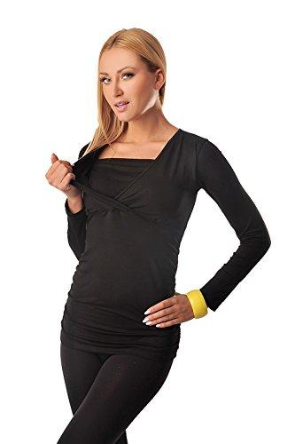 Maternity Black Top Purpless 7007 2in1 Premaman Manica Lunga E Allattamento BUqOxUCn