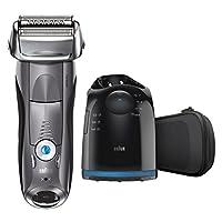 Maquinilla de afeitar eléctrica Braun, afeitadora eléctrica eléctrica para hombre Series 7 7865cc /Afeitadora eléctrica, húmeda y seca, estuche de viaje con sistema de limpieza y carga, maquinilla de afeitar sin cable gris premium con recortadora
