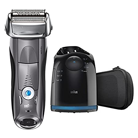 Braun Electric Shaver, Series 7 7865cc Men's Electric Razor / Electric Foil Shaver, Wet & Dry, Travel Case with Clean & Charge System, Premium Grey Cordless Razor with Pop Up...