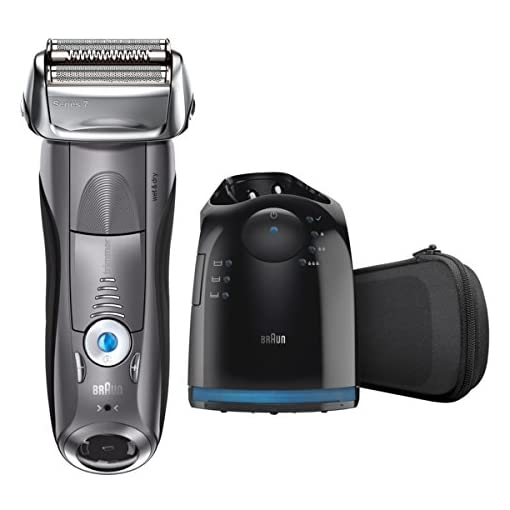 Braun Series 7 7865cc Electric Razor for Men, Rechargeable and Cordless Electric Shaver, Wet & Dry Foil Shaver, Grey, with Clean&Charge Station and Travel Case - 41rwNt 2Bs63L - Braun Electric Razor for Men, Series 7 7865cc Electric Shaver With Precision Trimmer, Rechargeable, Wet & Dry Foil Shaver, Clean & Charge Station & Travel Case