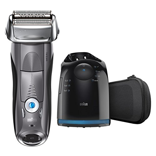 (Braun Electric Shaver, Series 7 7865cc Men's Electric Razor / Electric Foil Shaver, Wet & Dry, Travel Case with Clean & Charge System, Premium Grey Cordless Razor with Pop Up Trimmer)
