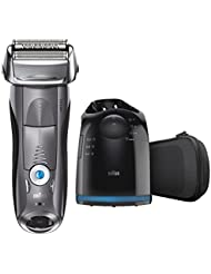 Braun Electric Shaver, Series 7 7865cc Men's Electric Razor/Electric Foil Shaver, Wet & Dry, Travel Case with Clean & Charge System, Premium Grey Cordless Razor with Pop Up Trimmer