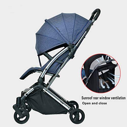 JIAX Foldable Baby Stroller,Travel System with Baby Basket Anti-Shock Springs Newborn Baby Pushchair Adjustable High View Pram Travel System Infant Carriage Pushchair (Color : Blue)