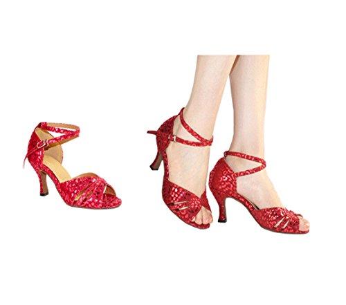 Olyer Vrouwen Rose Sexy Dansschoenen Voor Rumba Cha-cha Samba Paso Dubbele Rode Roos