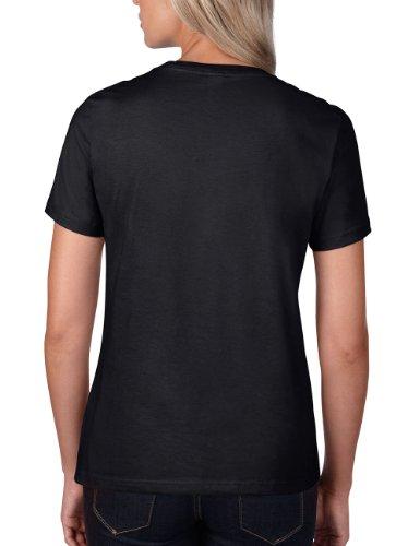 Ringspun bla Mujer Negro Woman Crew Tee Neck Para Anvil Black Camiseta CfqwUztt
